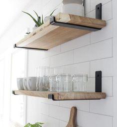 Wall Mounted Kitchen Shelves, Ikea Wall Shelves, Wooden Shelves Kitchen, Kitchen Shelf Decor, Floating Shelves Kitchen, Living Room Shelves, Open Kitchen Shelving, Kitchen Walls, Shelves In Bedroom
