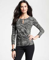 Abstract Paisley Long Sleeve Top - Unbelievably flattering, we love the wrap inspired style (and alluring keyhole neckline) of this super soft paisley confection. Jewel neck with keyhole. Long sleeves.