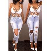 Stylish High Waist Ripped White Denim Skinny Pants Jeans