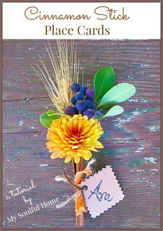 Cinnamon stick place cards - easy to make, inexpensive and festive!  Can be customized to suit any season or occasion.