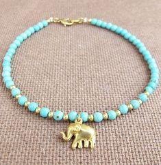 4 mm Turquoise Bead Summer Ankle Bracelet added Elephant Charm