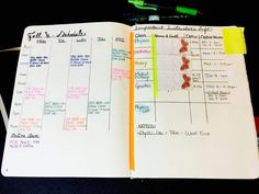 The left page setup and closer look of the semester schedule, with class numbers and times for quick reference