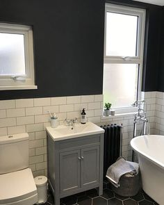 Five months in, first room done. I am loving the transformation, I just need a few more finishing touches 🛁🚿 Bathroom Vanity Makeover, White Vanity Bathroom, Bathroom Inspo, Bathroom Ideas, Contemporary Bathroom Designs, Modern Kitchen Design, Layout Design, Bathroom Towel Rails, Ikea