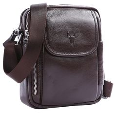 This beautifully crafted, quality leather messenger bag is versatile and functional. It is a great size for keeping your everyday essentials organized and right at your fingertips. It is worn across the body with an adjustable cloth strap.  This medium satchel is made from deep brown genuine, shiny leather with silver metal styling details. It features a small, magnet-fastened, over flap front pocket with a zippered side pocket and two main cloth lined zipper pockets. It also features an…