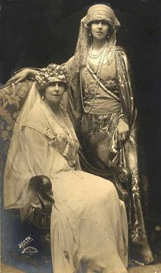 Queen Marie of Romania and youngest sister, Princess Beatrice, duchess of Galliera. Early 1920s,