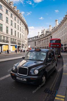 Typical black cab in Regent Street in London - Stock Photo , Regent Street, Black Cab, Scene Setters, London Architecture, 3d Texture, London Life, Maps, British, Stock Photos