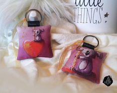 1 x Porte-clé tissu / Bijou de sac Illustration Koala Coeur fait main