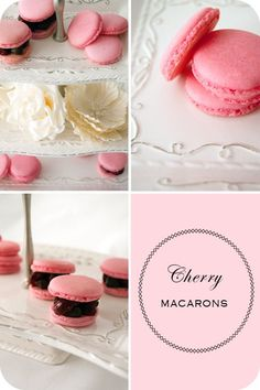 Cherry macarons set