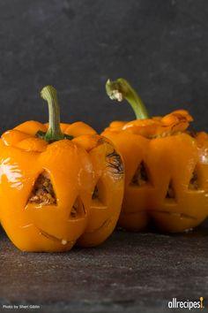 Stuffed Jack-O-Lantern Peppers