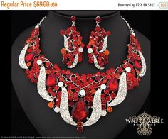 ON SALE Red Bridal Statement Necklace Chunky by WhiteAisleBoutique