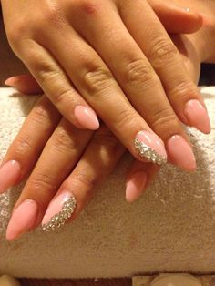 Pink diamanté stiletto nails #Nails #Crystals