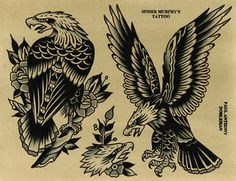Original works by Paul Dobleman. Ink & watercolor on paper Traditional Eagle Tattoo, Traditional Tattoo Old School, Traditional Tattoo Design, Traditional Tattoo Border, Flash Art Tattoos, Tatto Old, Berg Tattoo, Dessin Old School, Tattoo Tradicional