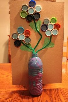 flower (bottle and lid) - Crafts - Recycled Crafts Kids, Recycled Art, Crafts For Kids, Arts And Crafts, Recycled Materials, Earth Day Projects, Earth Day Crafts, Water Bottle Crafts, Mother's Day Activities