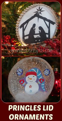 Pringles Lid Ornaments Two ideas...one is so easy for preschoolers, the other is for elementary and up! Pin and save those Pringles lids!