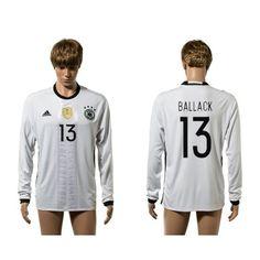 Tyskland 2016 Ballack 13 Hjemmebanetrøje Langærmet.  http://www.fodboldsports.com/tyskland-2016-ballack-13-hjemmebanetroje-langermet.  #fodboldtrøjer