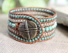 Leather Wrap Bracelet 5 Row Cuff Rustic by BearCreekCollection
