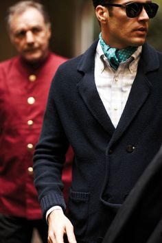 interesting sweater-blazer hybrid and... neckerchief?  ascot?  cravat?