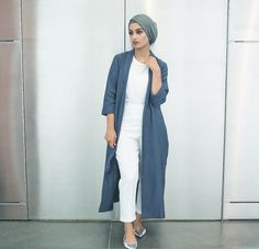 All white + long jacket on top and turban hijab