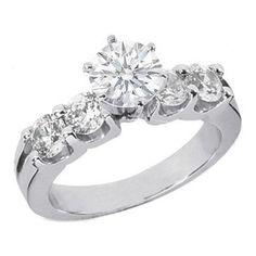 4 Diamond Cluster Engagement Ring Baguette Sides 49