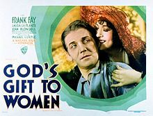 Frank Fay and Yola d'Avril in the theatrical release poster for God's Gift to Women 1921.  Also starring Laura La Plante & Joan Blondell