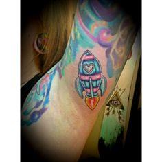 A by Birdie at Black Rabbit Tattoo Studio in Port Moody, BC Rocket Tattoo, Rabbit Tattoos, Tattoo Studio, Watercolor Tattoo, Tattoo Ideas, Black, Bunny Tattoos, Black People, Temp Tattoo