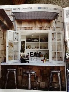 Bar outside kitchen window. House Beautiful