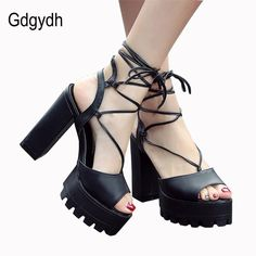 Gdgydh Fashion Black Lacing Gladiator Sandals Women Summer Shoes 2017 New Thick High Heels Platform Rome Shoes Big Size 34-43  #swag #dress #glam #cute #styles #instastyle #iwant #streetstyle #ootd #model