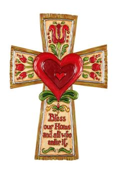 Jim Shore Bless This Home Wall Cross – Beattitudes Religious Gifts