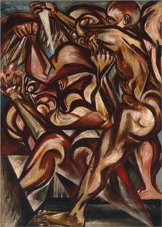 Jackson Pollock (January 1912 - 1956) | Abstract-Expressionism | Man with Knife - 1940