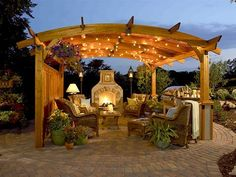 Paved patio with trellis