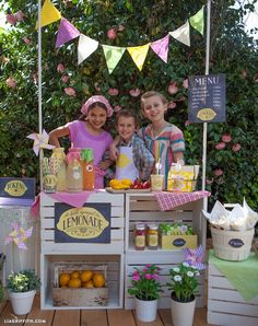 """This adorable label set has been designed by the team at Lia Griffith for a handcrafted children's lemonade stand party. They have shared bright and colorful designs for your lemonade cups, bottles and treat bags as well as a sticker sheet of cute fruits and """"Yum!\\"""