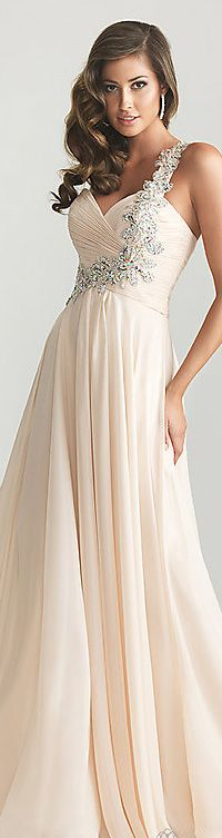 Champagne long dress #formal #oneshoulder #dress - this would make an awesome wedding dress. love the flowing skirt fabric