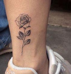 Small rose tattoo design on ankle – tattoo Mini Tattoos, Body Art Tattoos, Tattoos For Guys, Flower Tattoos, Tatoos, White Tattoos, Small Rose Tattoos, Rose Tattoos For Women, Tattoo Women