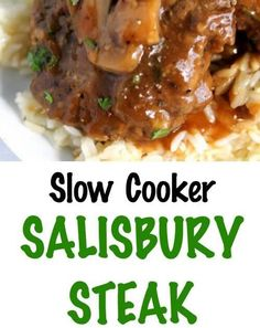 Slow Cooker Salisbury Steak is one of our favorite comfort foods. Tender beef patties simmered in rich brown gravy with mushrooms and onions. This is perfect served over mashed potatoes, rice or pasta! Brown Gravy Recipe Beef Broth, Meatballs And Brown Gravy Recipe, Brown Gravy Recipe With Drippings, English Brown Sauce Recipe, Recipes Using Beef Broth, Meatloaf Gravy Recipe, Brown Gravy Recipe Easy, Mashed Potato Recipes