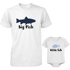 Little Fish, Big Fish, Matching Shirts, Matching Outfits, Fish Print, Fathers Day Shirts, S Shirt, Cute Tops, Onesies