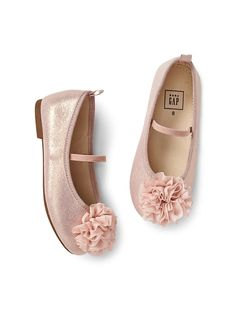 49f5e359659 Gap Baby Pom Ballet Flats Rose Gold Toddler Outfits