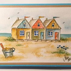 Craft Gifts For Father - Fantastic Present Strategies Art Impressions Stamps Watercolor - Handmade Card Beach Row Houses Beach Painting, Art Drawings, Easy Watercolor, Art Impressions Stamps, Watercolor Stamps, Painting, Art, Watercolor Landscape, Beach Art