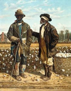 Two Old Black Cotton Pickers in the Conversation