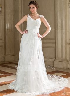 A-Line/Princess Sweetheart Court Train Tulle Wedding Dress With Ruffle Lace (002004748)