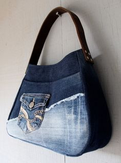 Denim Frayed Leather Strap Handbag with Stitched Front Pocket, Front and Interior Pockets, Lined with Blue and Beige Floral - by AllintheJeans on Etsy