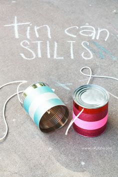 can stilts Easy tin can stilts tutorial. A fun activity for the kids!Easy tin can stilts tutorial. A fun activity for the kids! Craft Projects For Kids, Crafts For Kids To Make, Craft Activities For Kids, Kid Crafts, Craft Ideas, Diy Toys And Games, Soda Can Art, Recycle Cans, Boredom Busters