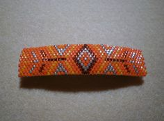 Southwest Inspired Barrette  Peyote Stitched Beaded Decoration Hair Jewelry 3 Shades of Orange and Gold by JazminsJewels on Etsy