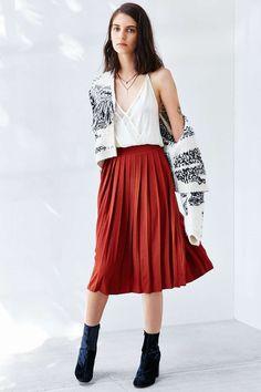 Silence + Noise Silky Pleated Midi Skirt #urbanoutfitters