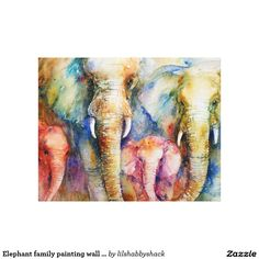 Elephant family painting wall art on canvas stretched canvas prints