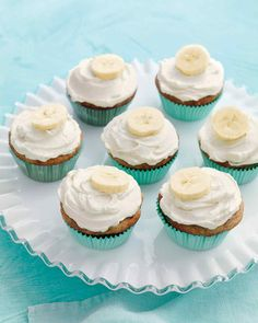 Banana Cupcakes with Honey-Cinnamon Frosting | Martha Stewart Living - For a handheld treat that takes the cake, try these cute confections at your party -- they combine the flavor of classic banana bread with a creamy spiced frosting.