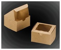 25-4x4x2.5 Bakery boxes cookie cupcake muffin cake donut box Brown with window