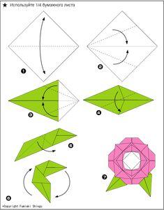 Original origami flower diagrams origami pinterest origami rosa 2 mightylinksfo