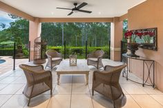 Downstairs entertaining overlooking the 17th Fairway @ the Brookwater Golf Course