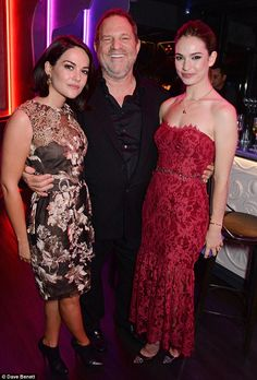 Main man: Film-maker Harvey Weinstein posed with Lily and actress Sarah Greene at the exclusive bash Sarah Greene, Harvey Weinstein, Lily James, Marchesa, Playing Dress Up, Hollywood, Glamour, Actresses, Poses