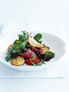 steak with roasted tomato and bread salad